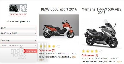 comparativa megascooters yamaha tmax bmw c650 sport