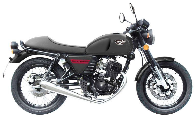 hanway raw 250 cafe racer perfil negro